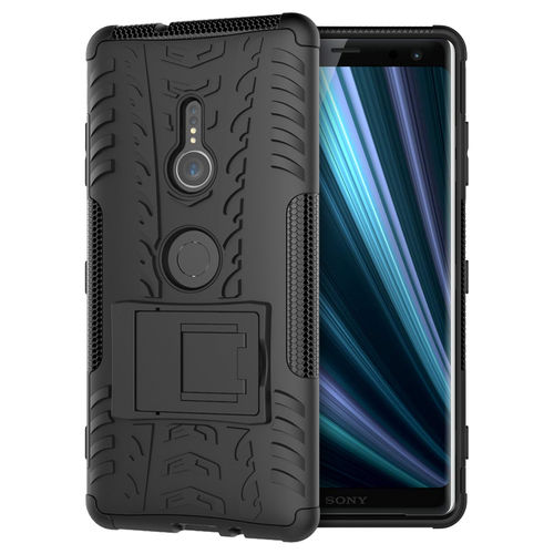 Dual Layer Rugged Tough Case & Stand for Sony Xperia XZ3 - Black